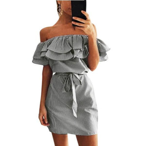 Casual Sundress Women 2019 Summer Ruffle Sashes Off Shoulder Lotus Leafrricdress-rricdress
