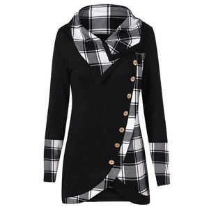 2019 NEW Blouse Women Long Sleeve Irregular Hem Plaid Button Turtleneck Tartanrricdress-rricdress