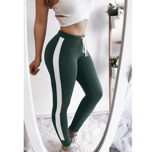 Side Striped High Waist Slim Long Trousers For Women Elastic Fashion Joggerrricdress-rricdress