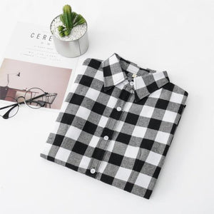 Women Shirt Blouses Plus Size 2019 Hot New Spring Flannel Cotton Longrricdress-rricdress