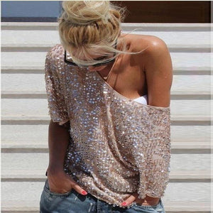 New 2019 Fashion Women Sexy Loose Off Shoulder Sequin Glitter Blouses Summerrricdress-rricdress