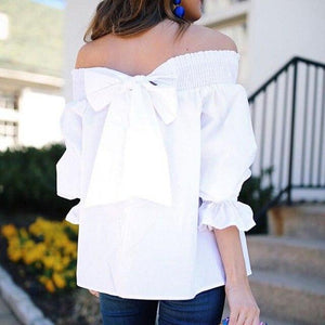 Off Shoulder Back Bowknot Blouse And Shirts Spring Summer Strapless Womenrricdress-rricdress