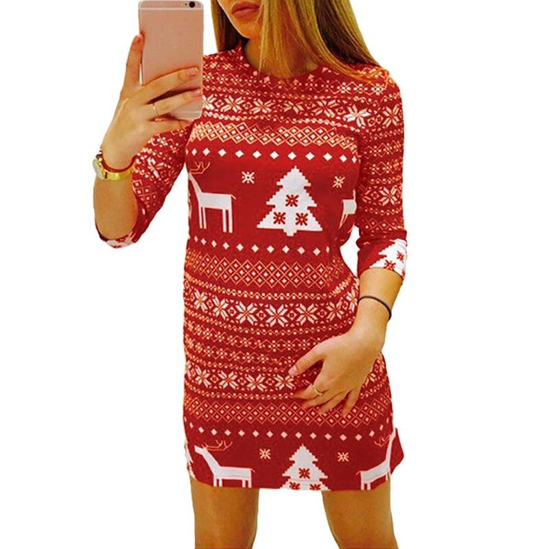 2019 New Women Autumn Winter Christmas Dress Print Santa Reindeer Tree Snowflakerricdress-rricdress