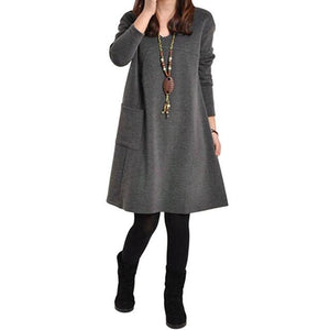 woman winter dress 2018 robe female Long Sleeve Plus Size Dress Womenrricdress-rricdress