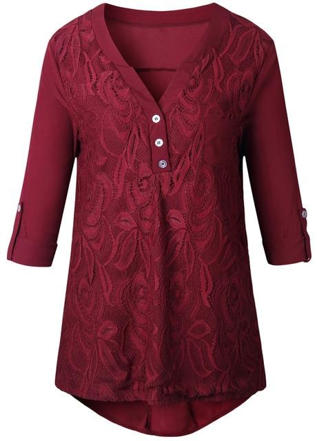 2019 Autumn XXXL Plus Size Tunics Embroidery Chiffon Blouses Women Lace Topsrricdress-rricdress