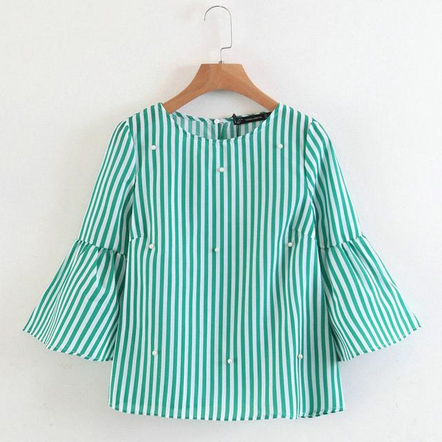 2019 Summer Women New Loose casual Shirt Blouse Elegant pearls O-neck 3/4rricdress-rricdress