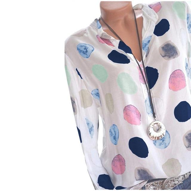 Womens Tops And Blouses Polka Dot Print Long Sleeve Ladies Office Shirtrricdress-rricdress