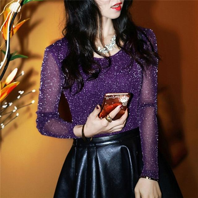 2018 Spring Summer Women's Sexy See Through Mesh Blouse Long Sleeve Transparentrricdress-rricdress