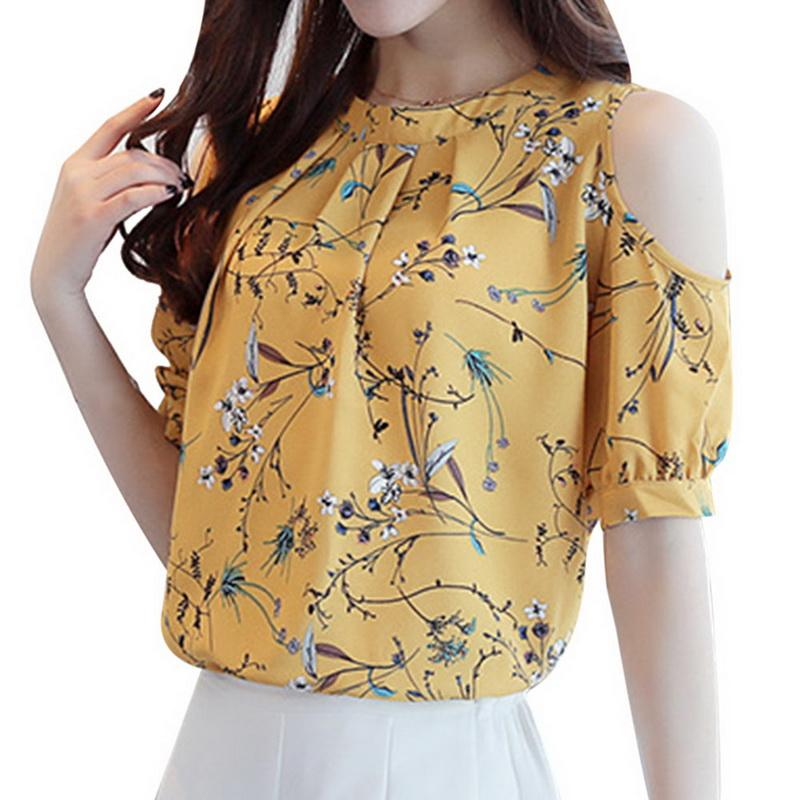 2018 Plus Size Chiffon Blouse Shirt Women Summer Cold Shoulder Floralrricdress-rricdress