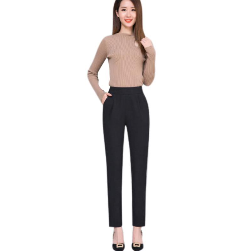 Women Mid Waist Solid Pencil Pants Elastic Waist Pocket Office Lady Stylerricdress-rricdress