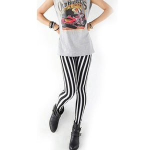 Womens Lady Fashion Cool Sexy Black White Strip Print Leggings Pants Hotrricdress-rricdress