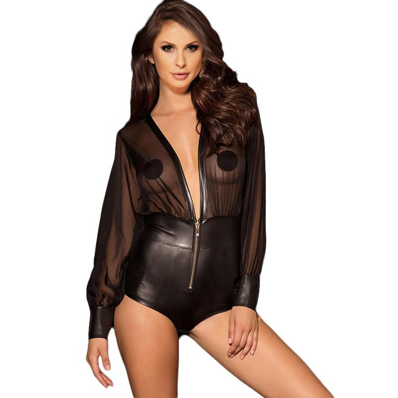 Zipper deep v neck sexy bodysuit PU leather long sleeve bodysuit plusrricdress-rricdress