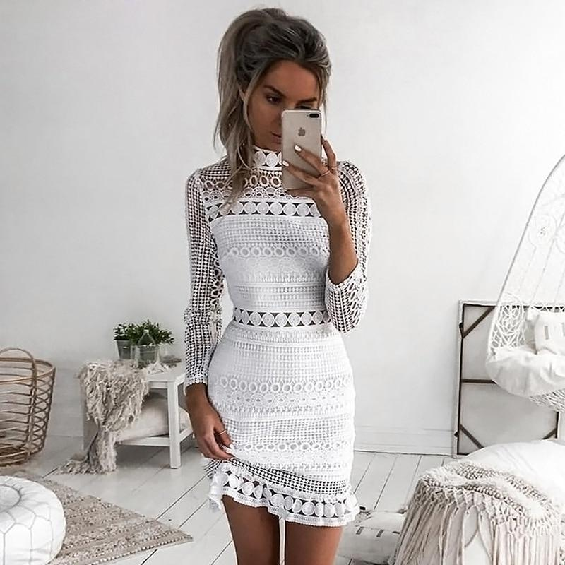 Summer Autumn Dress 2018 Women Casual Beach Short Dress White Mini Lacerricdress-rricdress