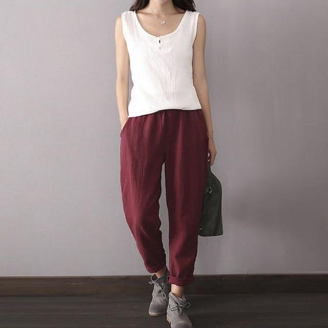 Oversized Women Cotton Linen Loose Fit Pants Casual Baggy Harem Hakama Pocketsrricdress-rricdress