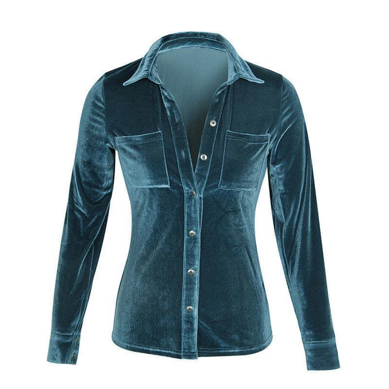 Female Shirt Solid Velvet Long-sleeved Lapels Button Shiny Fleece Fabric Button Sexyrricdress-rricdress