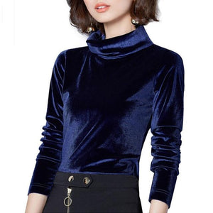 New Women Velvet Blouses Long Sleeve Turtleneck Blusas 2018 spring Sexy Velourrricdress-rricdress