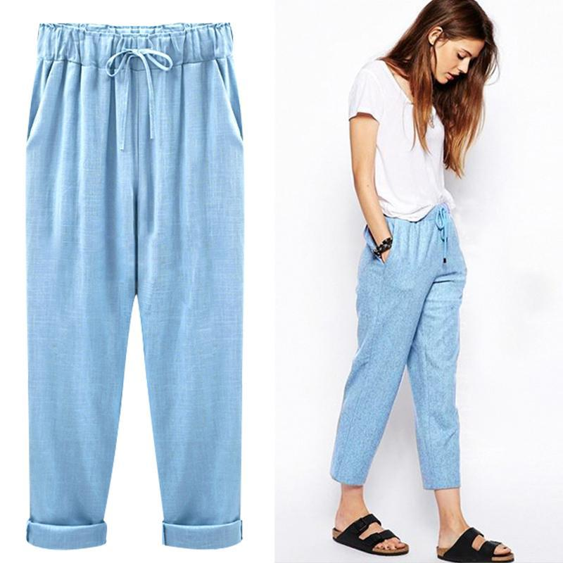 2019 Linen Pant Casual Womens Cotton Linen Elastic Waist Trousers Summer Widerricdress-rricdress