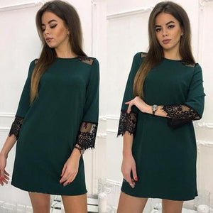 2018 New Women Fashion Lace Stitching dress Vestidos Autumn O-neck 3/4 Sleevesrricdress-rricdress