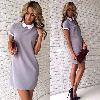 Fashion New Autumn Pink gray Vintage Turn-Down Collar Office Business Dress 2018rricdress-rricdress