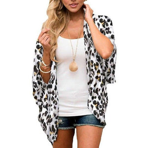 Women Casual Chiffon Floral Printed Half Sleeve Beach Cover Up Kimono Cardiganrricdress-rricdress