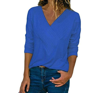 Winter Women's blouses solid v-neck Casual Wrap Front V Neck Long Sleeverricdress-rricdress