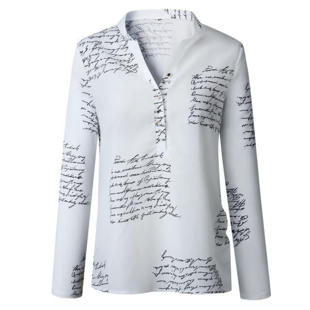 women plain vogue letters white shirts blouse female casual long sleeve rricdress-rricdress