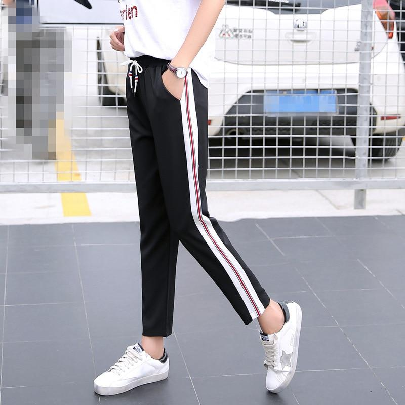 Spring 2019 Side Striped Harem Pants Women Elastic High Waist Sweatpants joggersrricdress-rricdress