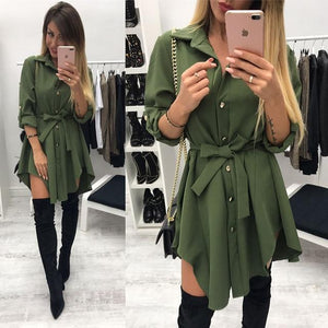 Blouse Shirt For Woman 2019 Spring Long-Sleeve Buttons Bandage Waist Turn Downrricdress-rricdress