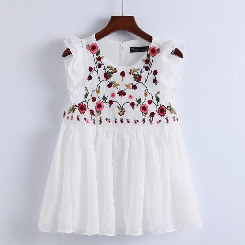 2019 Fashion Women Ethnic style Embroidery Shirts Laminated ruffles Blouses Summer stylerricdress-rricdress
