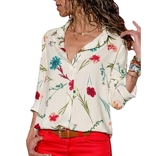 Women Blouses 2018 Floral Print Tops And Blouses Turn Down Collar Longrricdress-rricdress