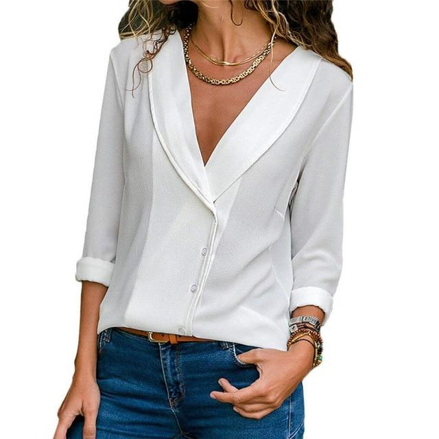 2018 Autumn Long Sleeve Blouse Sexy Deep V Neck Shirt Woman Solidrricdress-rricdress