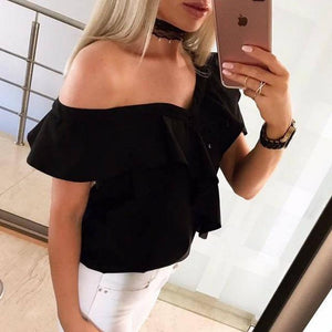 2018 Women's Off Shoulder Button Shirts Cute Casual Short Sleeve Ruffle Frilledrricdress-rricdress
