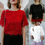Women Fashion Summer Blouses Lace Long Sleeve Casual Tank Tops Ladies Summerrricdress-rricdress