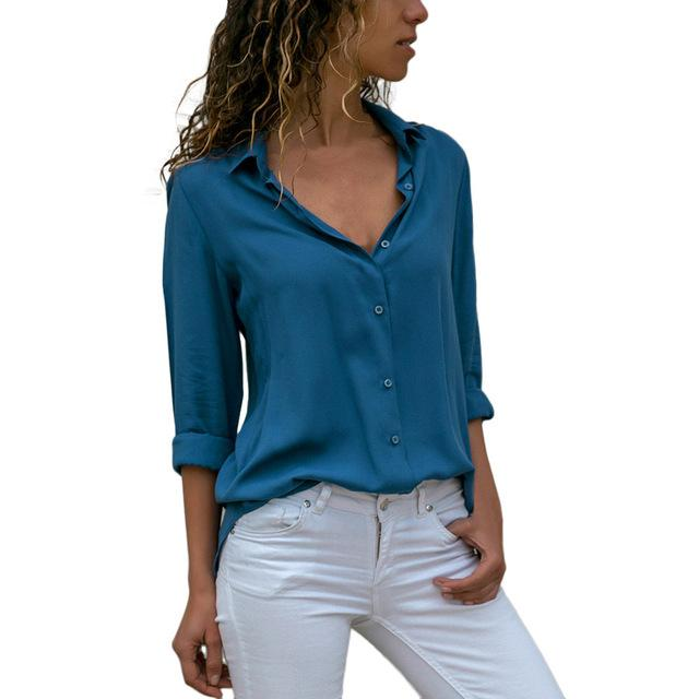 Womens Ladies Chiffon Long Sleeve OL Shirt Casual Loose Tops Blouse Femininarricdress-rricdress