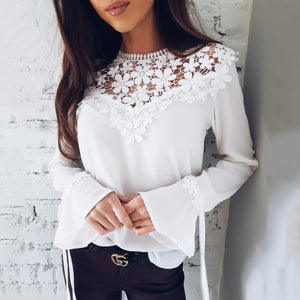 Spring Autumn 2018 Ladies New Hollow Out Flower Blouse Casual Lace Patchworkrricdress-rricdress