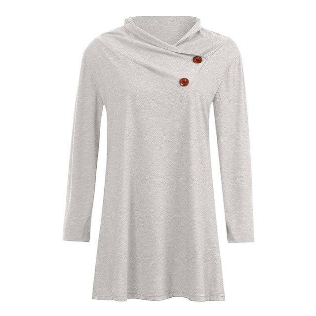 Winter women blouses button girl shirts fashion Women Casual Button Long Sleeverricdress-rricdress