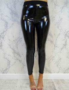 Womens Faux Leather Long Pants Ladies Soft Strethcy Shiny Wet Look rricdress-rricdress