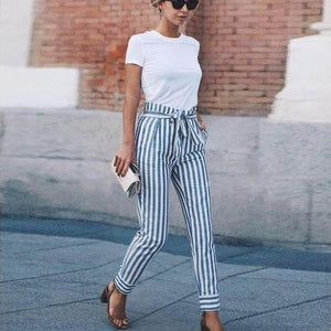 NEW Women Skinny Patchwork Striped Pants Women Pockets OL Style Work Trousersrricdress-rricdress