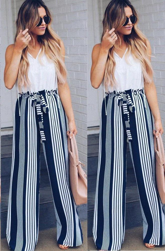 New 2018 Fashion Summer Wide Leg Pants Women High Waist Plaid Stripedrricdress-rricdress