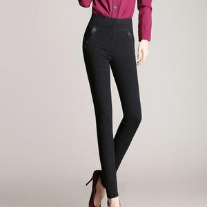 Women Stretch Pants Feet Black Pencil Pants Pocket Stitching PU Plus Sizerricdress-rricdress