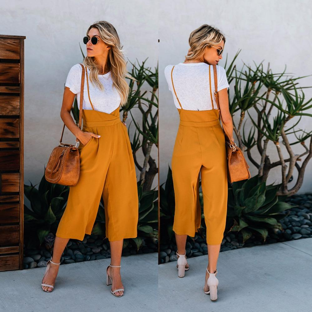 2018 new fashion autumn female yellow straight pants office ladies loose inrricdress-rricdress