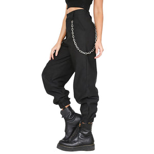 2018 Fashion Casual Womens Harem Pants With Chains High Waist Fashion Sweatpantsrricdress-rricdress