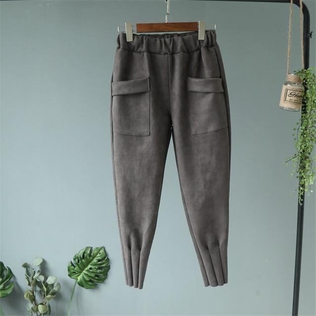 Women Spring Suede High Waist Casual Harem Pants Spring Autumn Trousers Leatherrricdress-rricdress