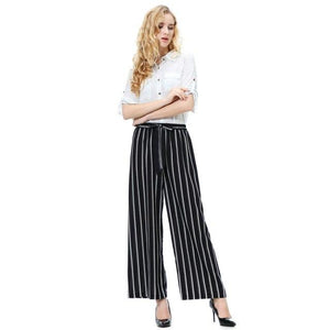Casual Belt Striped Pants Women Fashion Clothing High Waist Ankle-Length Pants Englandrricdress-rricdress