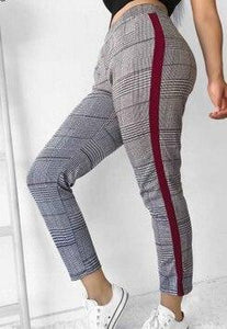 New Fashion Womens Stretch Skinny Plaid Slim Jeggings High Waist Pencil Pantsrricdress-rricdress