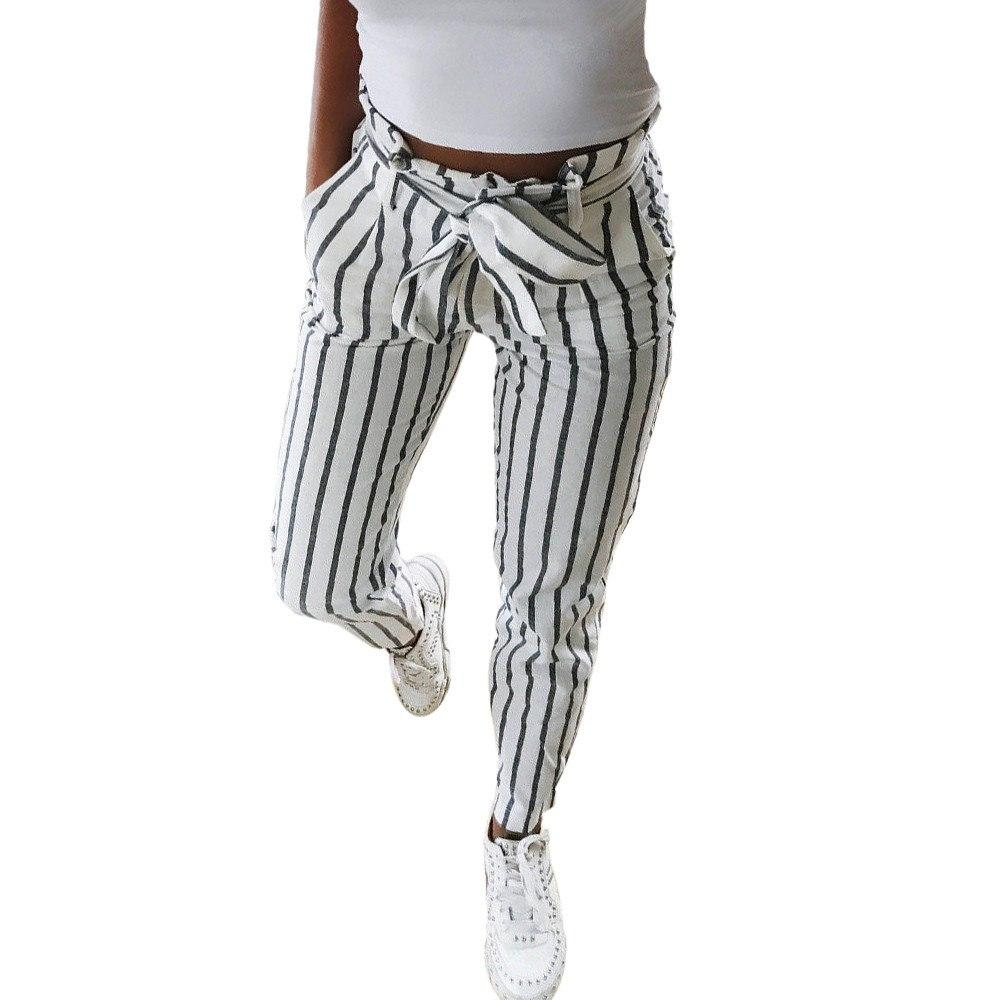 2018 Striped trousers for women OL chiffon high waist harem Women's pantsrricdress-rricdress