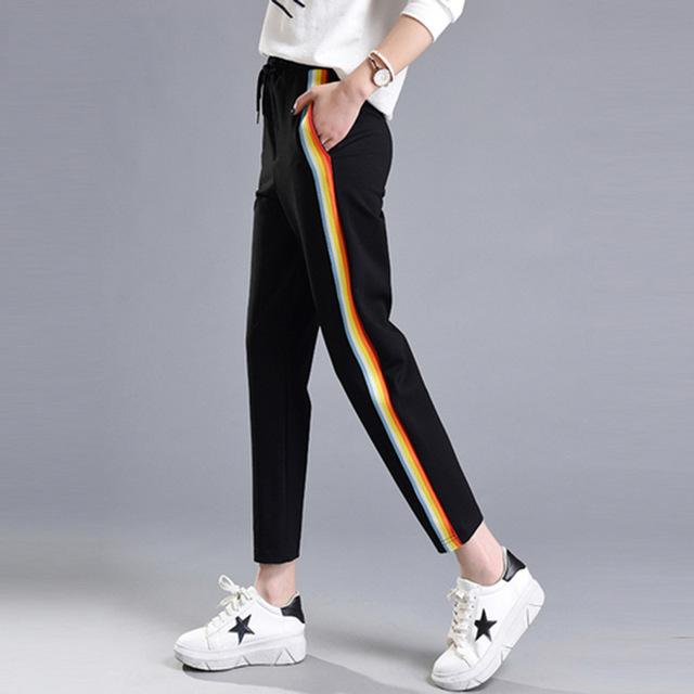 2019 Autumn Spring Casual Colorful Rainbow Side-stripe Pants Female M-2XL Loose Elasticrricdress-rricdress