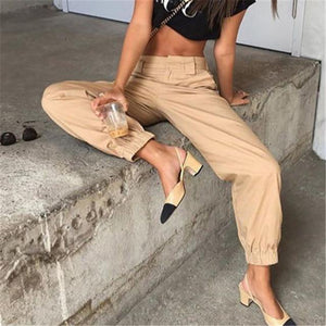 Women Solid Color Plus Size Cargo Pants 2018 New Elegant Woman Highrricdress-rricdress