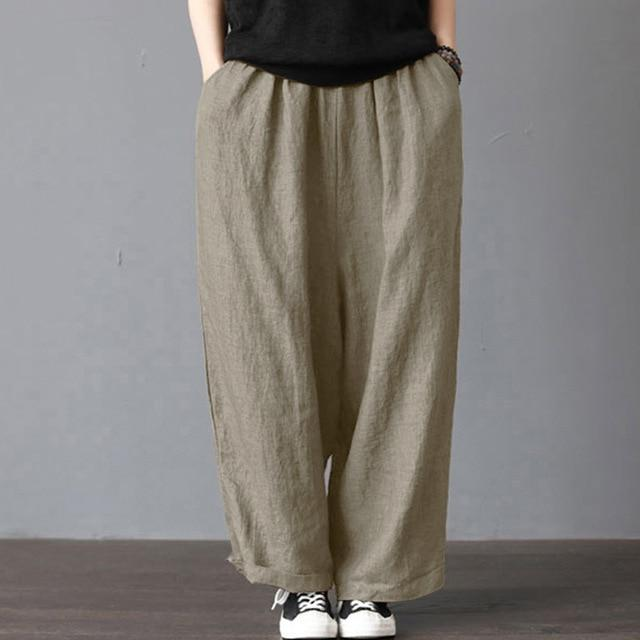 S-5XL Women New Loose Long Pants Cotton Linen Solid Wide Leg Pantsrricdress-rricdress