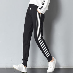 Women Harajuku Side Stripe Pants Elastic Waist Black Ladies Spring Summer Casualrricdress-rricdress